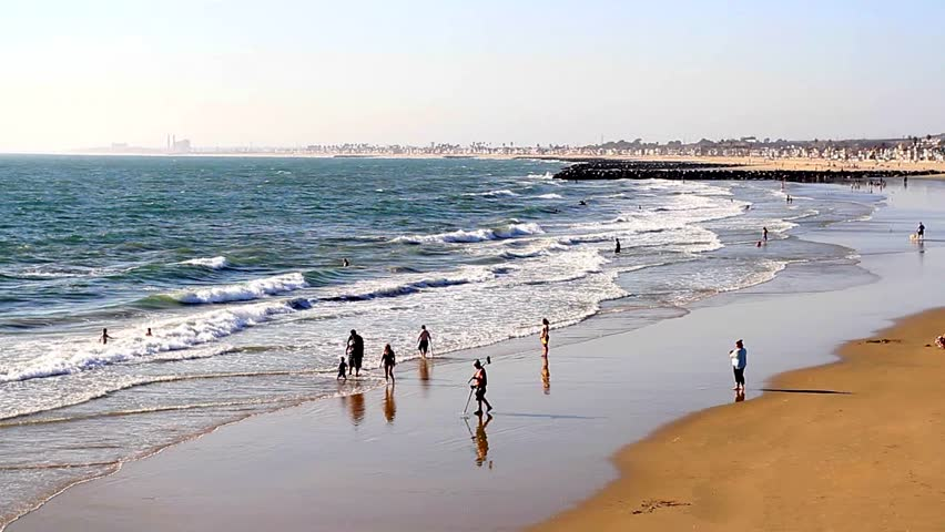 NEWPORT BEACH, USA - SEPT 18: Beach scene on September 18, 2012 at Newport Beach, California, USA. Newport Beach is renowned for good surfing, especially between Newport Pier and the Santa Ana River.