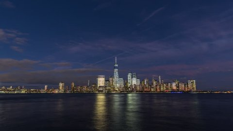Sunset timelapse of Manhatten island, New York. USA, 2017