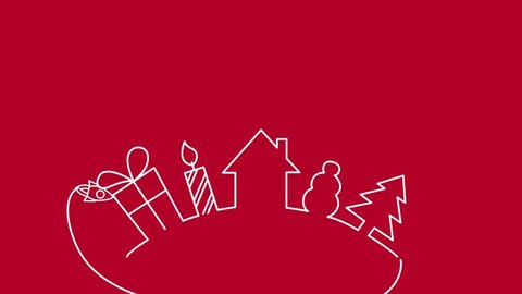 Merry Christmas text with holiday elements and rocket, animated footage. Close up text on red background. House, present, gift, candle, snowman, christmas tree.  Modern and elegant dynamic style