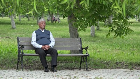 Single senior sitting on bench in green park,old man look around and wait, grey hair