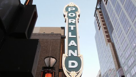 PORTLAND, OREGON - CIRCA 2017: Camera panning shot on iconic Portland sign in downtown.