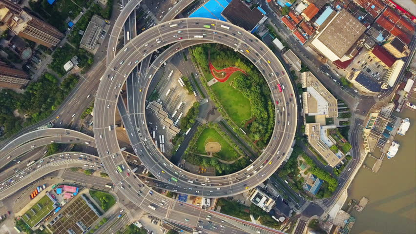 Day time shanghai city famous traffic round road junction aerial top view 4k china
