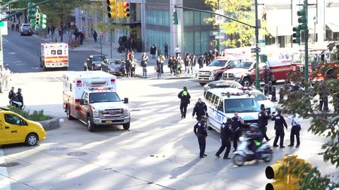 New York City / USA - October 31, 2017.  A person drove a rented pickup truck into cyclists and runners for about one mile. The vehicle-ramming attack killed eight people and injured eleven others.