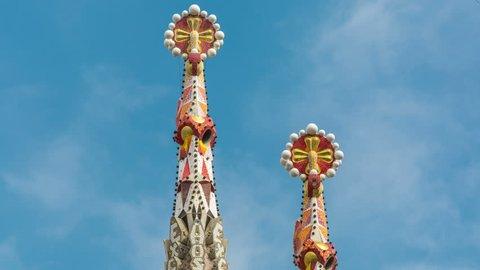BARCELONA, SPAIN - CIRCA 2017: Decorated spires of Sagrada Familia in Barcelona.