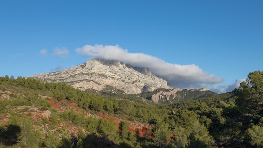 Montagne Sainte-Victoire - a limestone mountain ridge in the south of France close to Aix-en-Provence  | Shutterstock HD Video #34038265