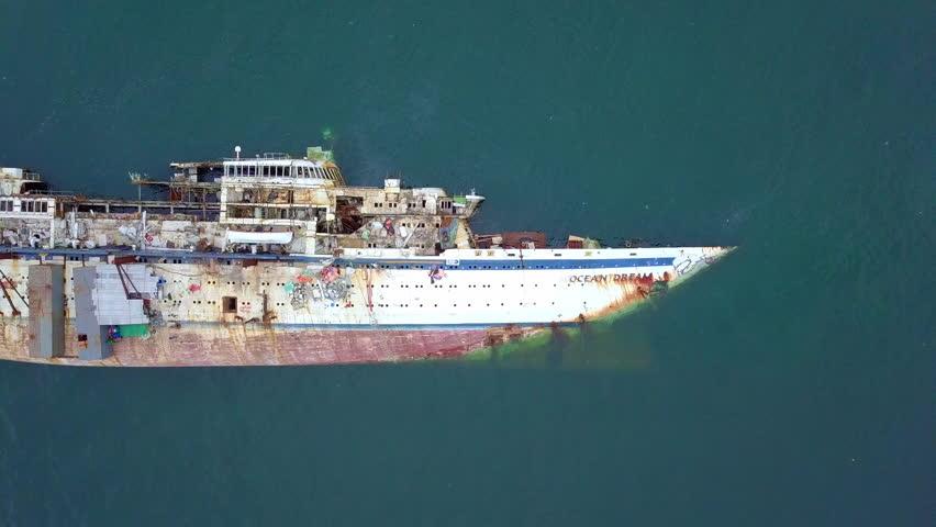 Aerial view of cruise ship shipwreck, Shipwreck cruise ship, Shipwrecked off the coast of Thailand