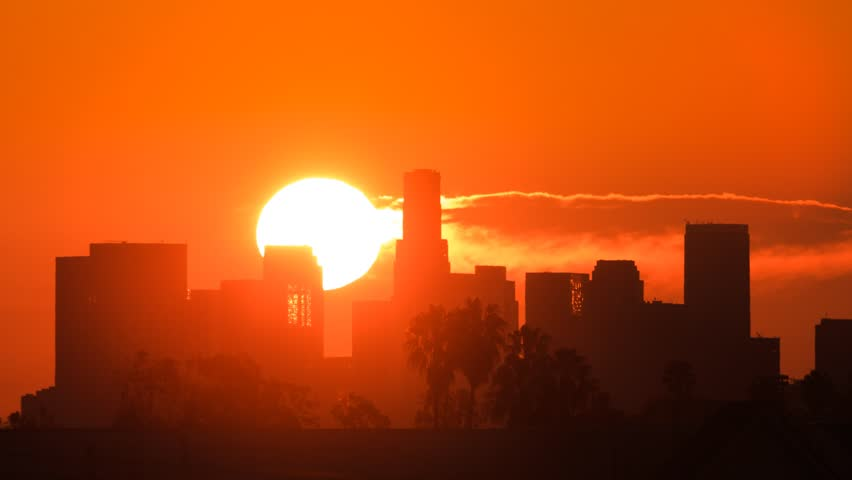 Sunrise over Los Angeles skyline. Zoom-in on downtown. Timelapse. | Shutterstock HD Video #3406244