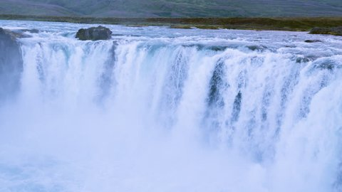 Majestic Aerial Flight Over Icelandic River Waterfall Extreme White Water Crushing Down Abyss Unstoppable Force Majesty Reverence Nature Sight Seeing
