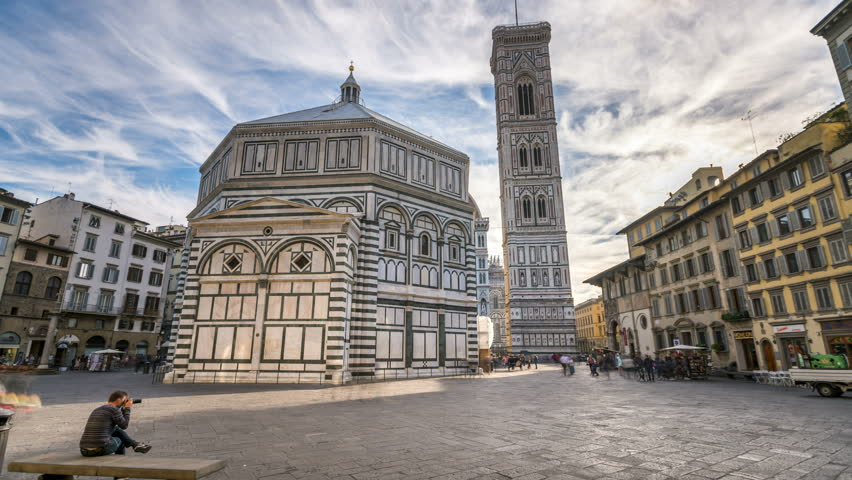 Florence Cathedral, The front of The Basilica di Santa Maria del Fiore at morning sunrise, hyperlapse timelapse video. (Duomo di Firenze) The cathedral church (Duomo) of Florence in Italy in 4K.  | Shutterstock HD Video #34086175
