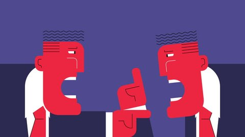 Hard discussion. Two abstract angry businessmen arguing with each other. Looped animation.