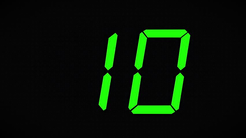 Ten Second Countdown. Clock Countdown Timer Digital - 4K Ultra Animation