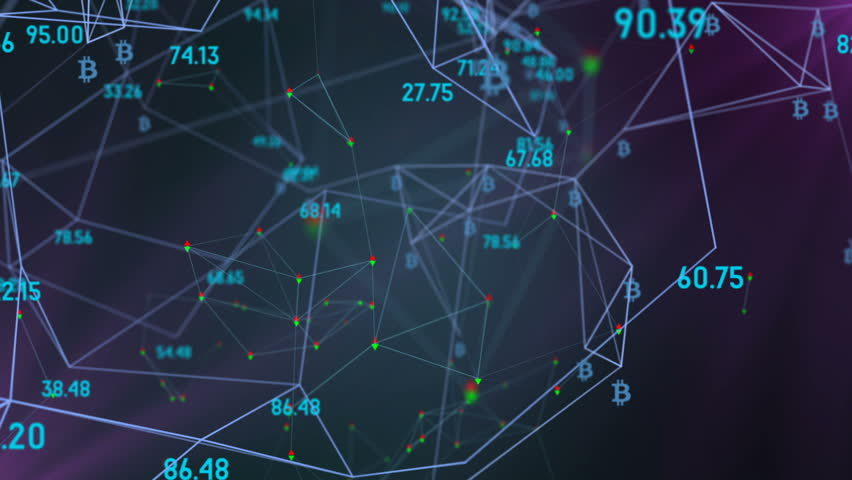 Information economic cluster, logo bitcoin. rotation in a circle. plexus network cinematic business background. seamless loop. | Shutterstock HD Video #34199665