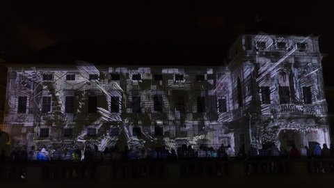 PRAGUE, CZ - OCTOBER 12, 2017: a 3D videomapping Multiverse by Filip Roca projected at the historic Tyrs house (Tyrsuv dum, also Palac Michny z Vacinova) at Signal light fest.Timelapse style, 4k-3840