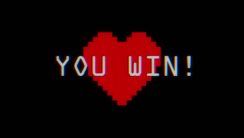 videogame YOU WIN text heart on old computer tv glitch interference noise screen animation black background seamless loop - New quality universal retro vintage colorful joyful wedding motivation video