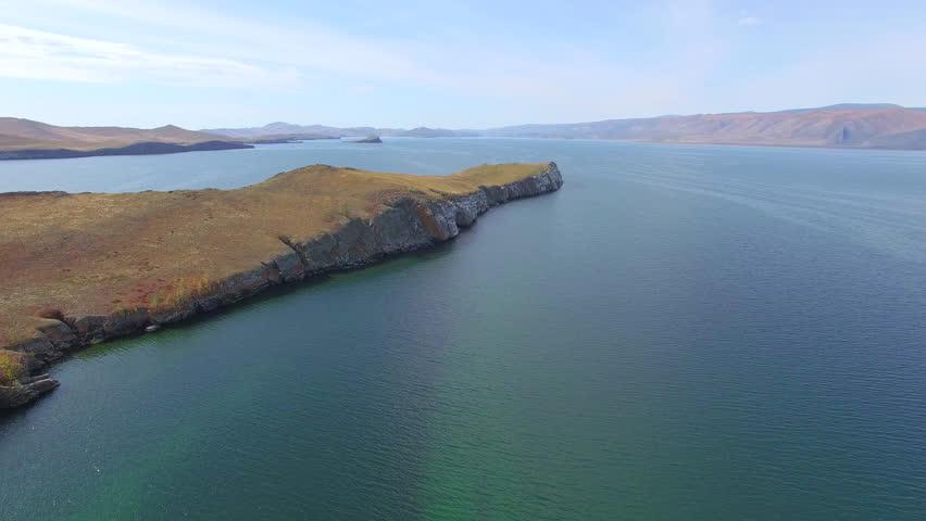 4K. Aerial photography. Autumn. Lake Baikal. Small Sea