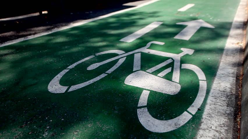 Green bicycle lane.