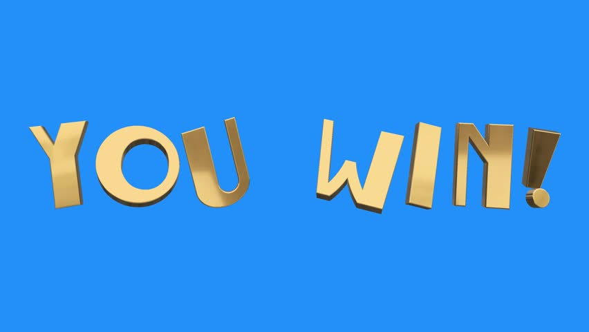 Golden YOU WIN word gathering from letters parts spin animation on blue screen background new quality unique financial business animated dynamic motivation motion text glamour video footage | Shutterstock HD Video #34292725