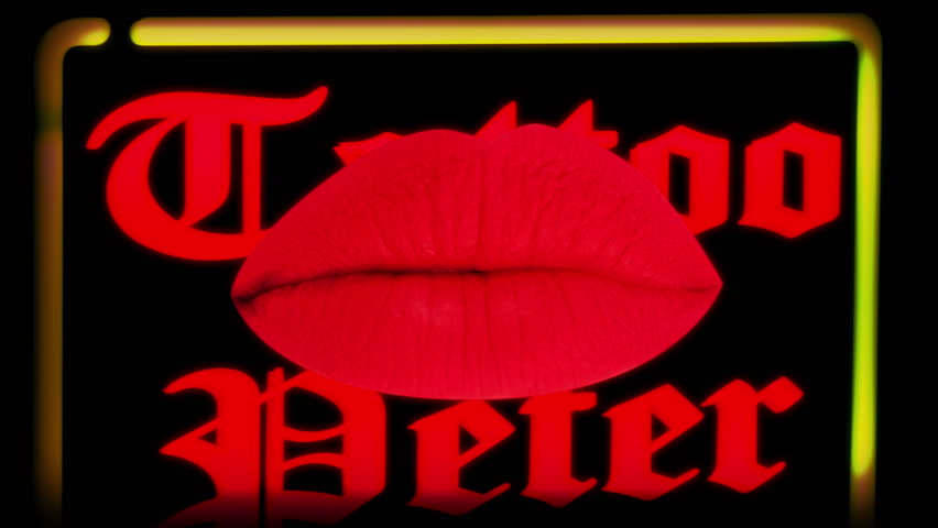 sequence of different images of woman's beautiful full red lips overlayed on neon signs from amsterdam's redlight district