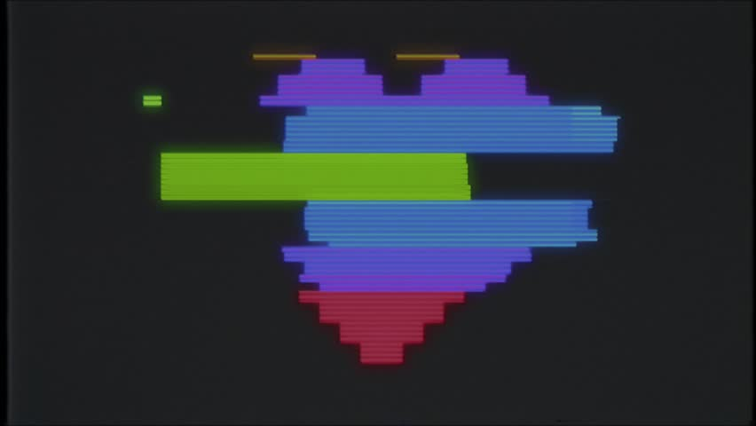 Pixel heart on computer old blured tv vhs glitch interference noise screen animation seamless loop - New quality universal vintage motion dynamic animated background colorful joyful video