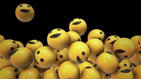 Animation of falling and filling screen yellow balls with different smiles of emoji. Animation of seamless loop.
