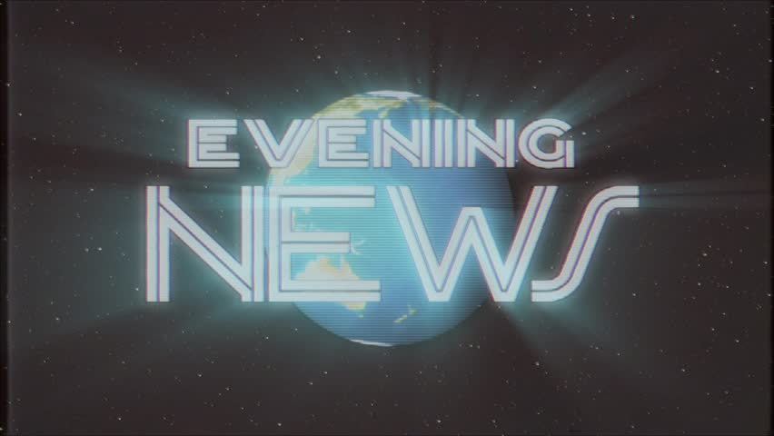 Shiny retro EVENING NEWS text with earth globe light rays moving old vhs tape retro intro effect tv screen animation background seamless loop New quality universal vintage colorful motivation video | Shutterstock HD Video #34333555