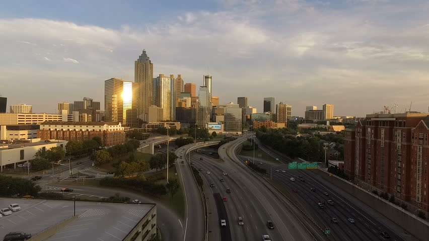 Atlanta Georgia Rush Hour Traffic Dusk Downtown City Skyline