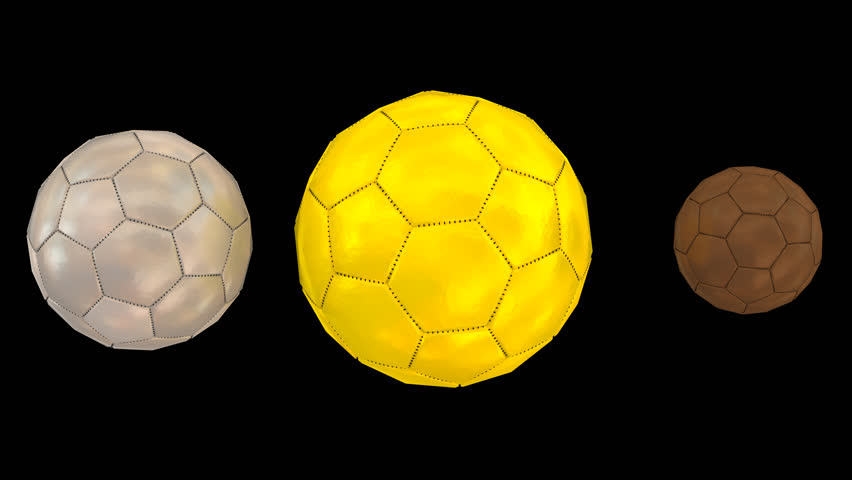 f325c7194 Animated plain small bronze, larger sliver and big gold soccer ball with  mate surface spinning against transparent background. Full 360 degree spin  and loop ...