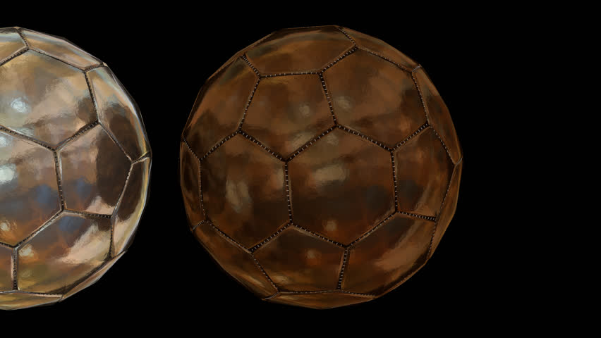 f37ae47b7 Animated rolling plain simple bronze, silver and gold soccer balls against  transparent background. Close up shot. Alpha channel embedded with PNG file.