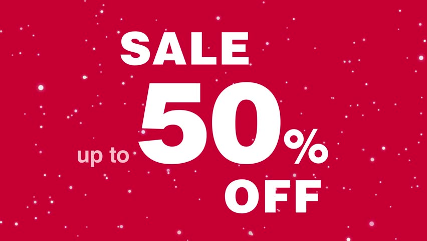 Animated message about the promotion up to 50 percent off discount. Sale. White text on a red background. Video advertising.   Shutterstock HD Video #34381285