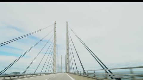 Time-lapse of driving on the bridge between Malmo and Copenhagen, the Oresundbridge.