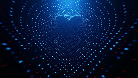 Abstract background with flying into digital tunnel from flickering particles, digits 0 and 1 as binary code and plexus of network. Shape heart. Animation of seamless loop.