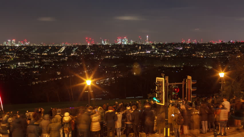 Fireworks New Year London 2018 Time-Lapse. View from the Alexandra Palace.