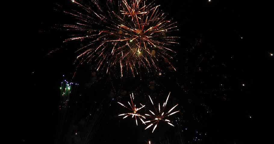 Slow motion of beautiful fireworks separated on black background | Shutterstock HD Video #34441735