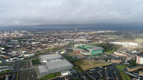 Glasgow, UK - DECEMBER 24 : Celtic Park Stadium Soccer Arena on December 24, 2017. Flying by Helicopter Aerial View Iconic Famous Stadium 'Paradise' in Scotland UK and the Home of Celtic Football Club