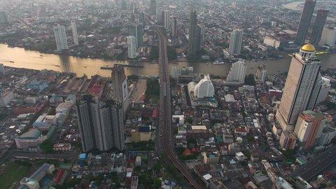 BANGKOK THAILAND - DECEMBER 30 : aerial view of Taksin Bridge and Sathorn road in heart of Bangkok capital on december 30 , 2017 in Bangkok. Thailand