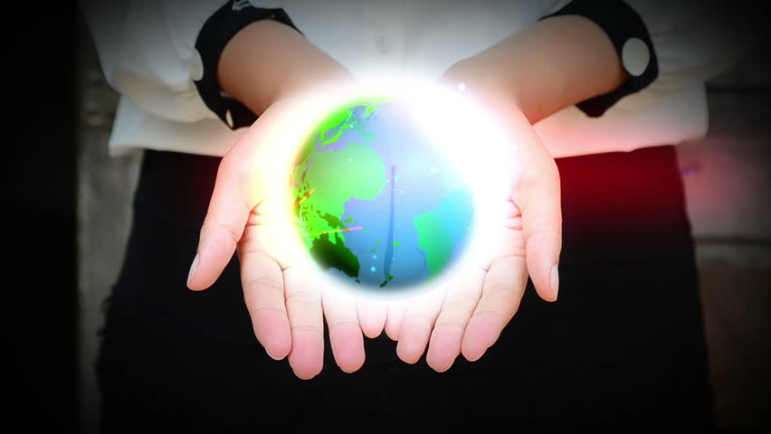 Realistic Earth animation held in hands.