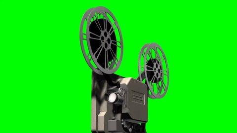 Film projector - cinema Projektor - isolated on green screen