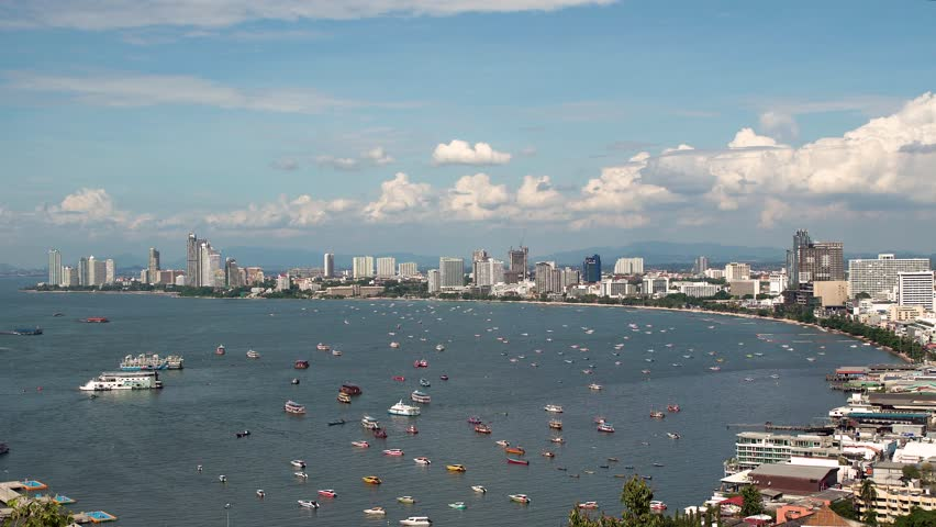 Panorama of Pattaya, Thailand, view of the beach and palaces with boats on the sea