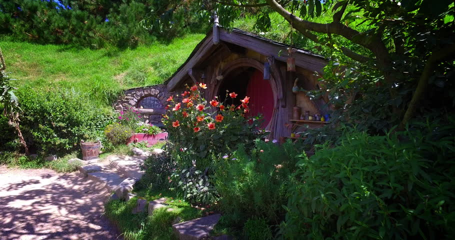 NEW ZEALAND – MARCH 2016 : Video shot of Hobbiton village on a beautiful day with hobbit house in view
