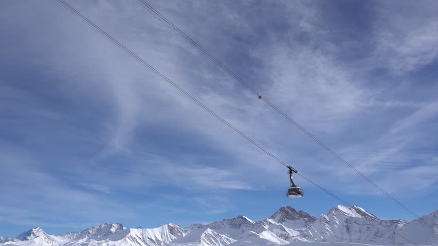 Mont Blanc Skyway Ropeway crossing the sky in Courmayeur, Italy on 31 December 2017 #34555585