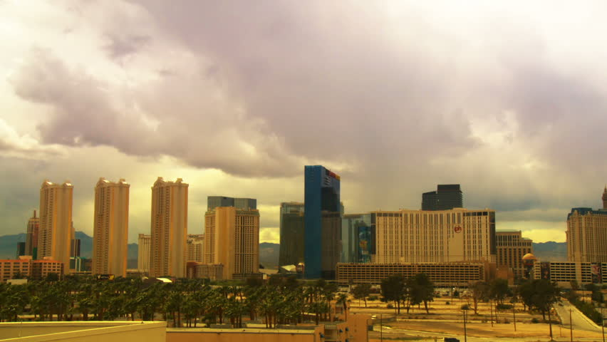Time lapse clouds passing over the hotels of the world famous Las Vegas strip. | Shutterstock HD Video #3455885