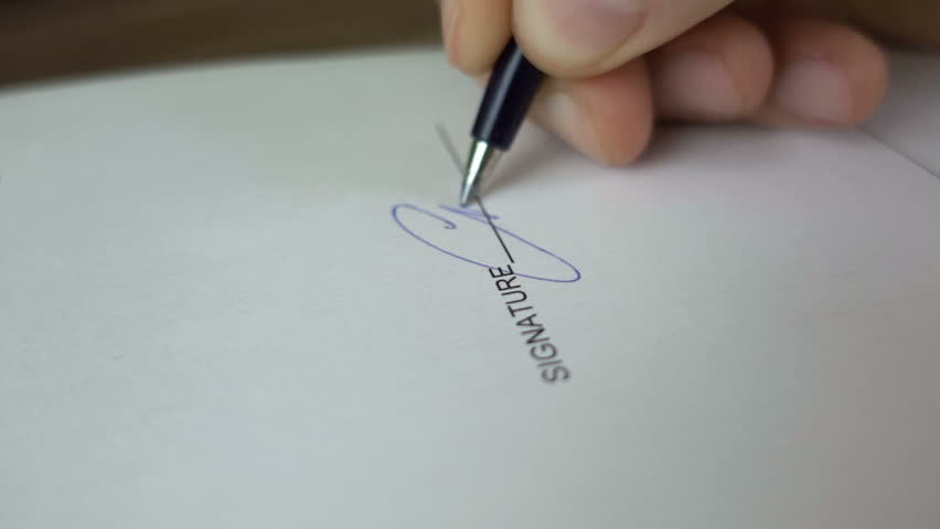 Close up of pen writing letter on table stock footage video businessman signing business contract agreement close up of male hand with pen writing signature thecheapjerseys Choice Image