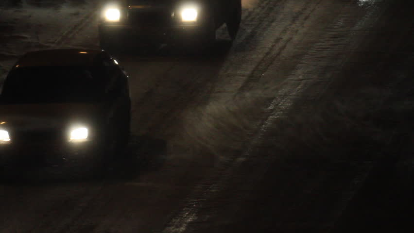 Blizzard storm in the road by car lights | Shutterstock HD Video #3457265