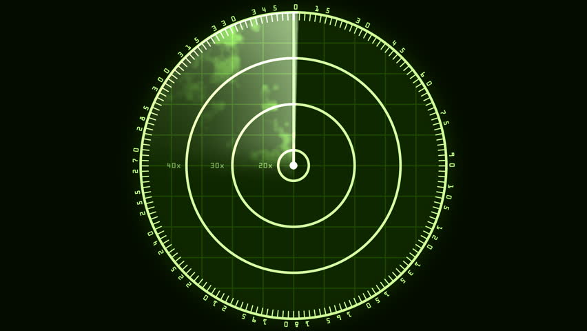 Radar Blip Screen, Digital (30fps). Loop of a radar screen displaying clouds and a bar refreshing and decaying.   Shutterstock HD Video #3458225