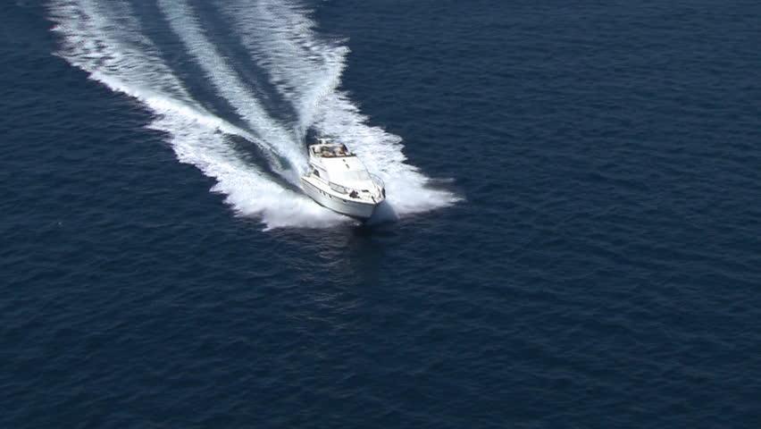 A speedboat speeds across Adriatic sea, Croatia
