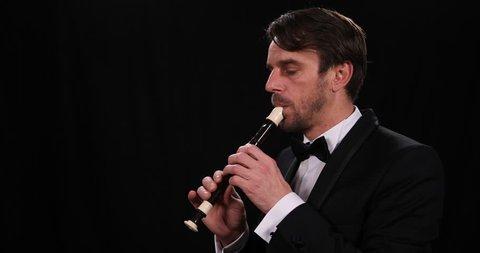 Recorder Flute Soloist Musician Man Playing Flutist Classical Symphonic Concert