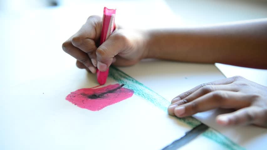 Close of kid drawing