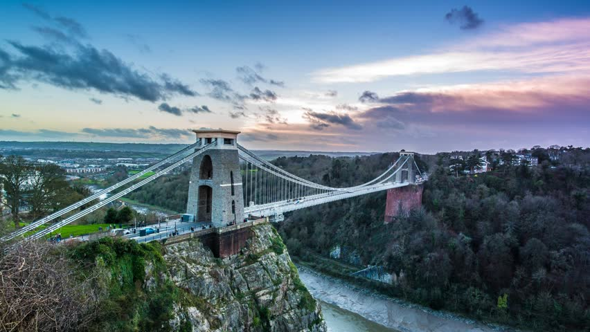 Clifton Suspension Bridge time lapse with moving clouds, change of light and static camera