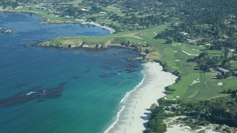 Aerial view Carmel Bay and Stillwater Bay Arrowhead Point and Pebble Beach golf course Big Sur California USA RED WEAPON