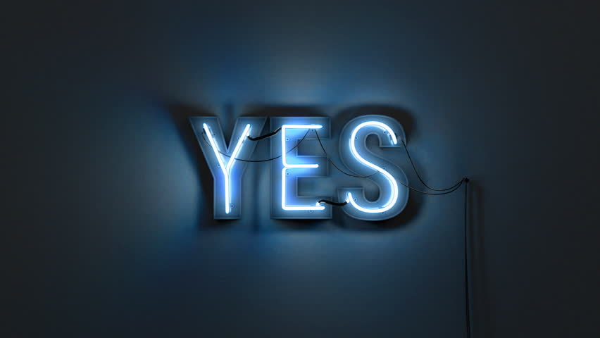 Neon sign of the word 'YES' switches on with a flicker